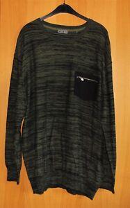 Herren Pullover Strickpullover Shirt olive schwarz  Größe:  3XL 4XL NEU