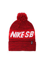MEN'S GUYS NIKE SB STRAIGHT HIT POM RED BEANIE TOQUE SKI HAT NEW