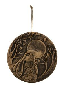 Terracotta Ornament Moon Gazing Hare Wall Plaque Brown 21x21x2cm