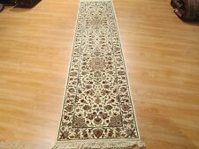 10 Feet Runner Persian Tabriz Cream Handmade-knotted Rug Wool/Silk 580604