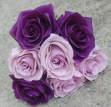 SILK WEDDING BOUQUET ARTIFICIAL ROSE POSY FLOWERS PURPLE LAVENDER LILAC ROSES