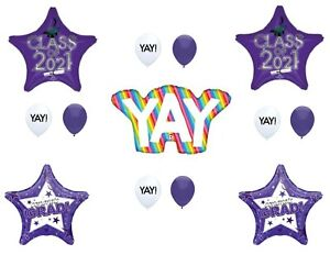 Yay! Class of 2021 Purple Graduation Party Balloons Decoration Supplies Graduate