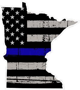 State of Minnesota Thin Blue Line Vinyl Decal - Choose your size - Free Shipping