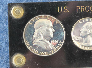 1961 US Silver Proof Set in Black Capital Lucite Frosted Franklin Obverse E1060