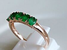 GENUINE 14K 14CT ROSE GOLD RING GENUINE NATURAL EMERALD RING SIZE US 7