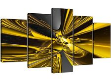 Extra Large Yellow and Black Abstract Canvas Prints - 5 Panel
