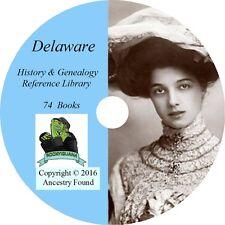 DELAWARE History Genealogy -74 old Books on DVD - Ancestors, County, CD, DE