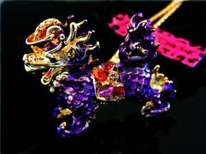 Charm Pendant Betsey Johnson Crystal Dragon Rhinestone Sweater chain Necklace