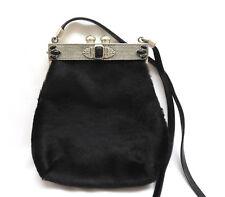 Moulin Rouge Black Hair Calf Crossbody Purse Handbag Heavy Pewter Frame & Stones