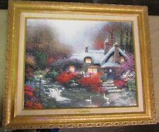 """Thomas Kinkade Evening at Swanbrooke Cottage Framed 20x16 Painting 25.5""""x21.5"""""""