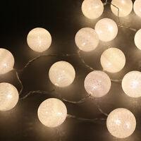 2.2M 20 Cotton Ball Fairy LED String Lights Party Patio Wedding Christmas Decor