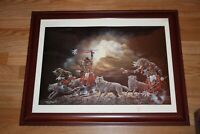 John Steele ARTIST PROOF SIGNED Lithograph Native Americans Wolves Framed 1988