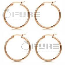 Women's Ladies Silver  & 18K Gold Plated Round Hoop Sleeper Earrings 10mm-60mm