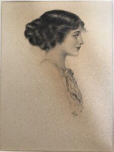 FINE EDWARDIAN  ILLUSTRATION PORTRAIT LADY 1900 INITIALS RG