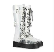Women Fashion Transparent Buckle Straps Lace Up Combat Mid Claf Boots Shoes N403