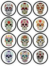 12 Precut Day of the Dead/Halloween Cupcake Toppers