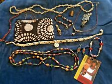 AFRICAN TRIBAL JEWELRY LOT Giraffe Zebra Necklaces Bracelets Beads Purse BOHO