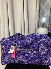 Vera Bradley Iconic Large Cotton Travel Duffel Regal Rosette Purple Floral