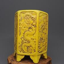 CHINESE OLD MARKED YELLOW GLAZE CARVE DRAGON PHOENIX PATTERN PORCELAIN BRUSH POT