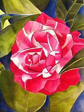 ORIGINAL ART - Pink Camellia macro flower watercolour painting