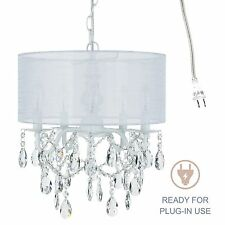 5-Light White Crystal Chandelier with Drum Shade, Plug In Lighting Fixture Lamp