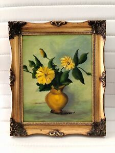 Vintage Floral Flower Yellow Daisy Green Painting Gold Frame Joan A. Nugent
