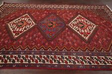 Antique Geometric TRIBAL Bakhtiari Persian Oriental Area Rug RED Hand-made 7x10