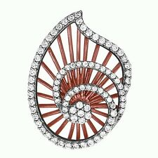 Sterling Silver Leaf Rose Gold Plated Pendant with AAA quality CZ