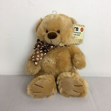 WT Mothercare Golden Brown Teddy Bear with Paw Print Bow Plush Soft Toy H 12""