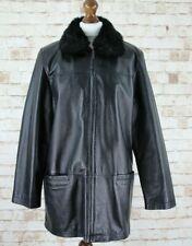 Genuine Leather Black Coat size 14