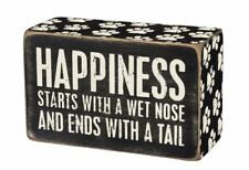 """New listing Happiness Starts with West Nose Box Sign Primitives Kathy 4"""" x 2.5"""" dog"""
