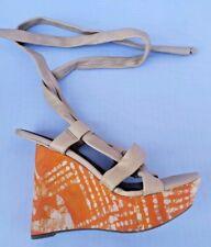 Sam Edelman Platform Wedge Sandals Size 8M Leather Strap Wrap EUC Tan Orange