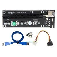 USB3.0 PCI-E PCIE Express 1x to 16x Extender Riser Card Adapter Power Cable Wire