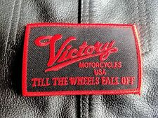 Victory Till The Wheels Fall Off Embroidered Patch  for Motorcycle Jackets Red