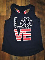 "Girls Large 10-12 Red,White & Blue 4th July Tank Top ""LOVE"" Peace Logo"