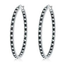 White Topaz Black Onyx Stainless Steel Women Jewelry Silver Hoop Earrings FH7006