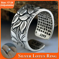 999 Sterling Silver Adjustable Open Ring Buddhist Mantra Lotuss Flower Ring Gift