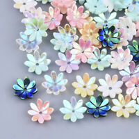 50 pcs AB Color Plated Multi-Petal Flower Opaque Resin Bead Caps 9.5x9.5x2.5mm