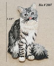 1 Grey & White American Shorthair Right Side Cat Kitty Iron On Embroidered Patch