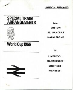WORLD CUP 1966 - British Rail Information guide London to Midlands & the North