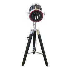 VINTAGE Treppiede Pavimento/Lampada Da Tavolo NERA Legno Faretto Proiettore telescopico