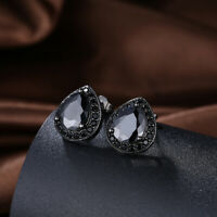 Stud Earrings Black Stones 6mm Hypoallergenic Stainless Surgical Steel 1.5 ct