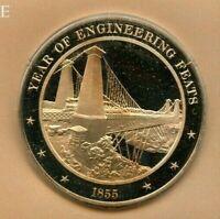 +1855 - Niagara Falls Bridge Year of Engineering Feats - Solid Bronze Medal Used