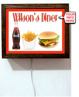 Personalized Diner Your Name Soda Fries Hamburger Advertising Light Lighted Sign