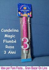 CANDELINA 5 ANNI Magic Flambè ROSA Compleanno Festa Party Bimba