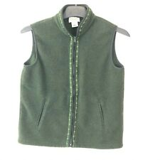 TALBOTS Fleece Zip Up Vest Loden Green Womens Size Small