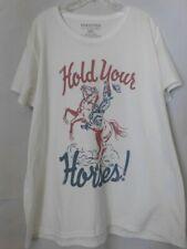 Farm Fed Clothing white t-shirt, hold your horses Plus size 3X