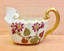 "Victorian Royal Worcester Nautilus Shape ""Floral Study"" Ivory Ground Jug 1890."