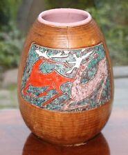 italienische Vase Lederüberzogen goat skin covered Alla Moda design pottery Ital