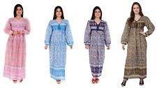 Cotton multi-color floral long maxi dress gown 70s retro hippie gypsy boho look